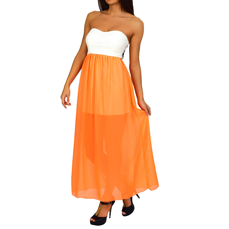 Ivory Neon Orange Color-Block Maxi Dress - Emprada