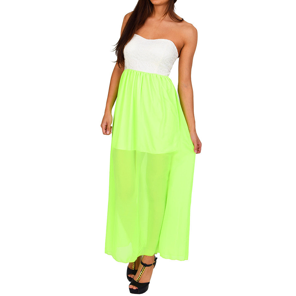 Ivory Neon Green Color-Block Maxi Dress - Emprada