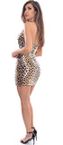 Ingrid Gold Leopard Satin Halter Dress