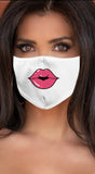 Lips Pink White Women's Reusable Face Mask