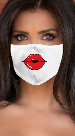 Lips Red White Women's Reusable Face Mask