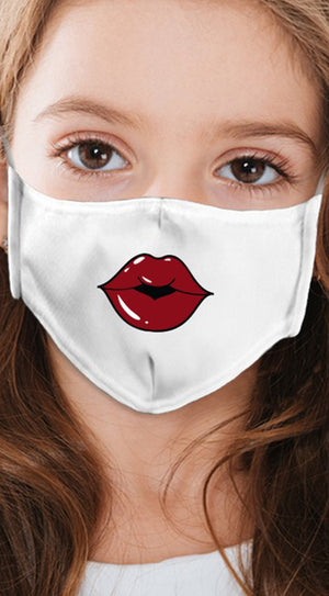 Lips Dark Red White Girl's Reusable Face Mask