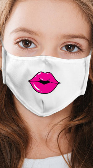 Lips Hot Pink White Girl's Reusable Face Mask