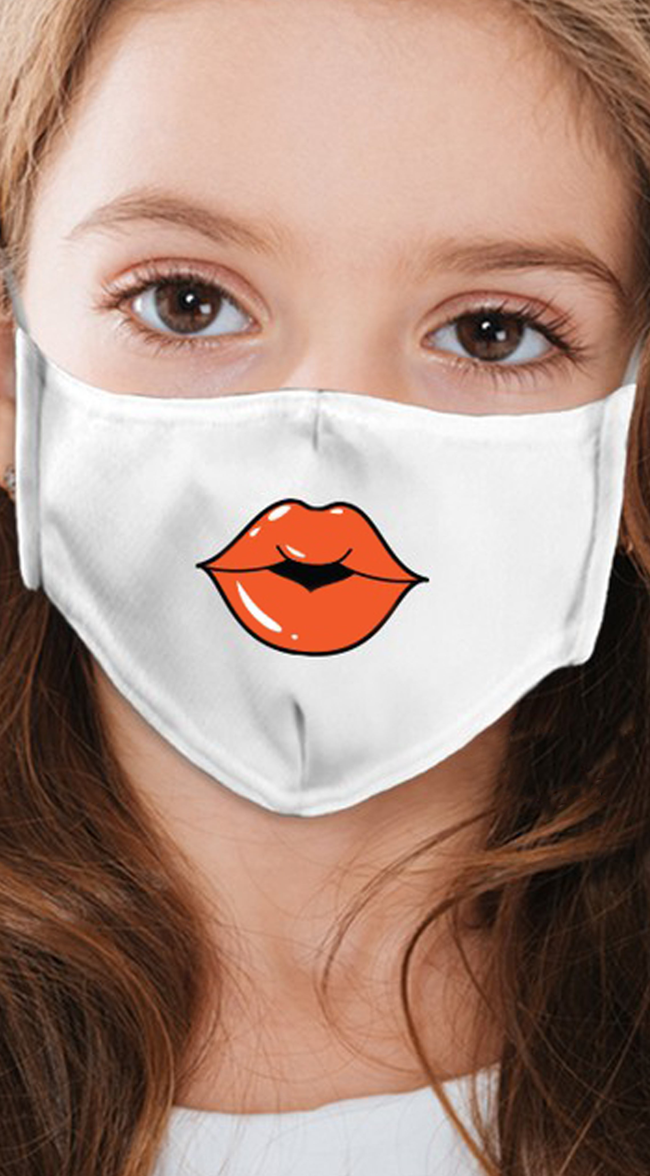 Lips Orange White Girl's Reusable Face Mask