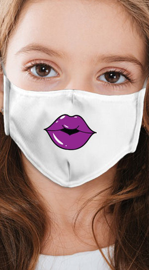 Lips Purple White Girl's Reusable Face Mask
