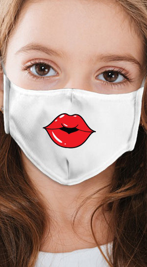 Lips Red White Girl's Reusable Face Mask
