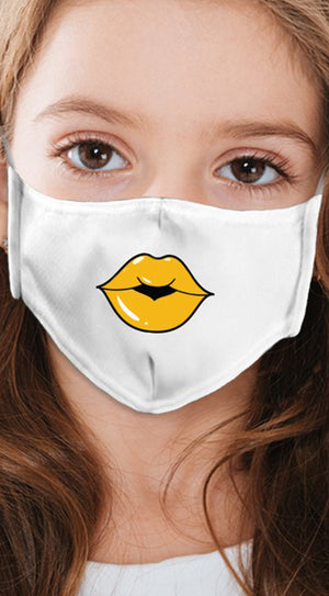 Lips Yellow White Girl's Reusable Face Mask