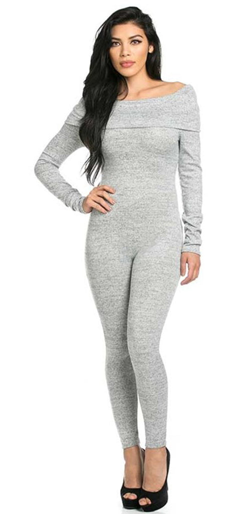 Grey Off Shoulder Jumpsuit - Emprada