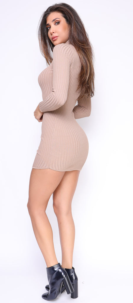 Kailee Beige High Neck Ribbed Long Sleeve Dress