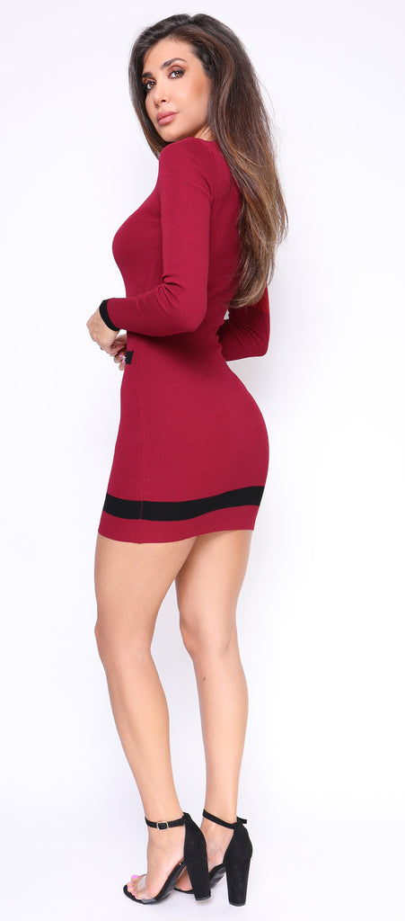 Castana Wine Red Scoop Neck Dress - Emprada