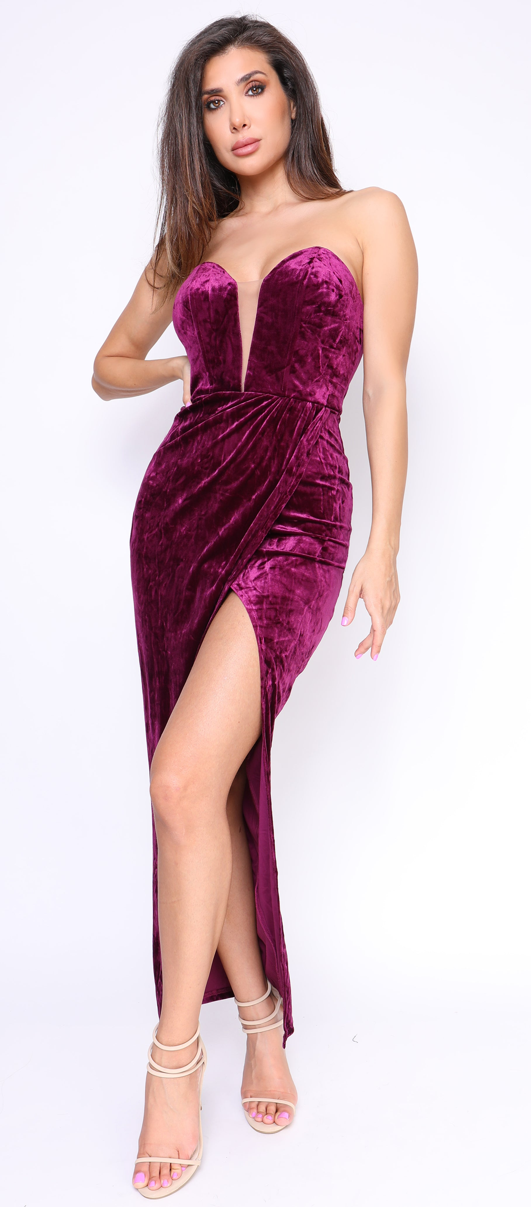 Jaiyana Plum Purple Velvet Slit Maxi Dress
