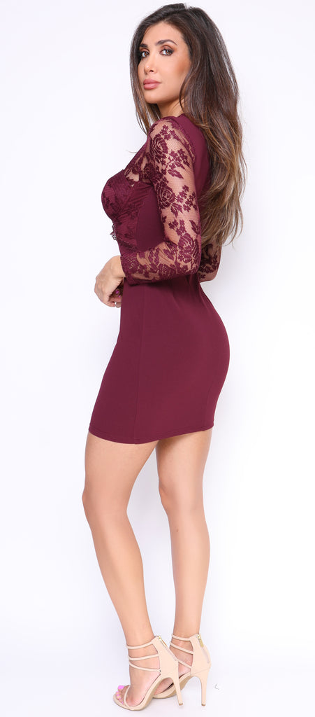 Trinity Wine Lace Bustier Dress