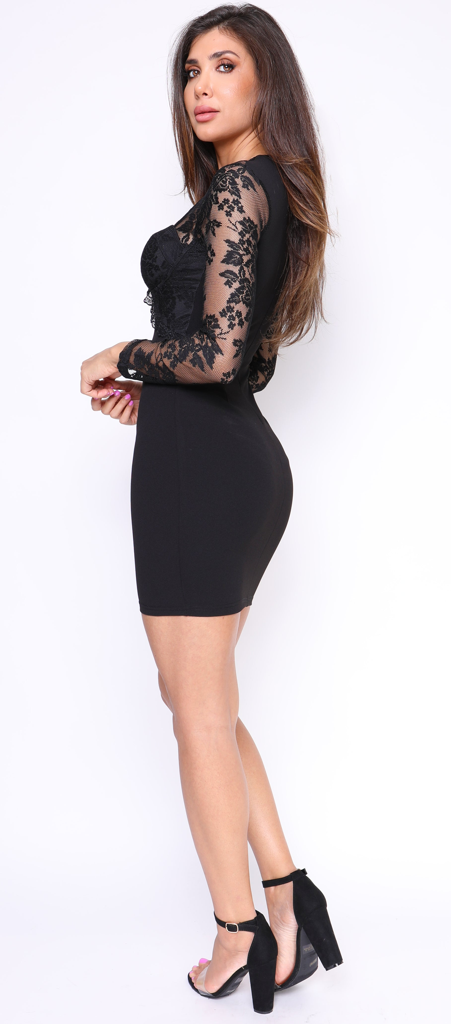 Trinity Black Lace Bustier Dress