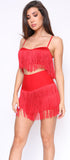 Jamilah Red Fringe Top and Short Set