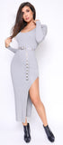 Kacee Gray Belted Slit Ribbed Maxi Dress