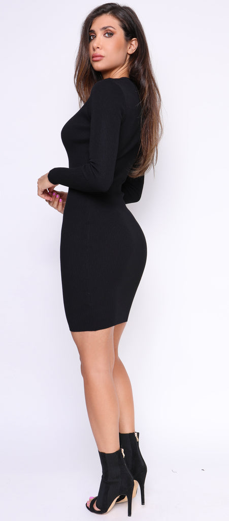 Calva Black V Neck Ribbed Dress - Emprada
