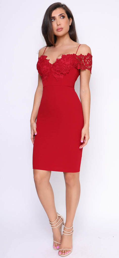 Teana Wine Red off Shoulder Dress