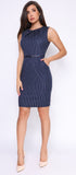 Aleta Navy Belted Dress - Emprada