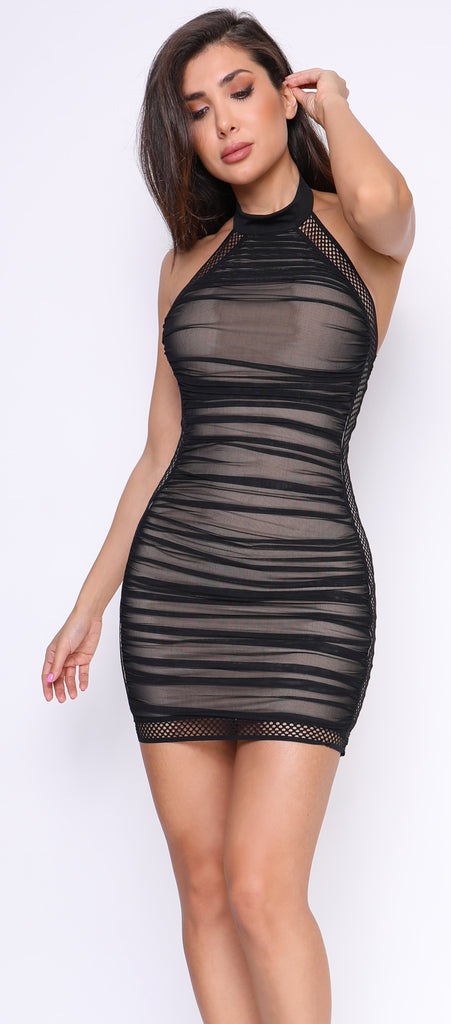Juana Black Nude Mesh Ruched High Neck Dress