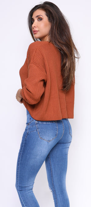 Amy Bronze Knit V Neck Sweater - Emprada