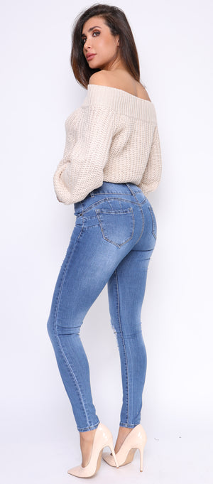 Fera High Waist Shaping Button Jeans - Emprada