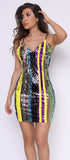 Sienna Yellow Multi Strip Sequin Dress
