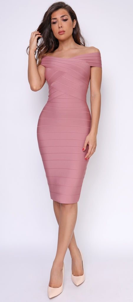 Neoma Mauve Pink Cross Over Off Shoulder Bandage Dress