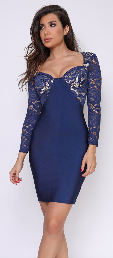 Anastasia Navy Lace Bandage Dress - Emprada