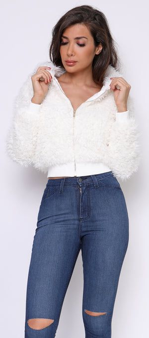 Beretta Ivory White Puff Faux Fur Ribbed Jacket - Emprada