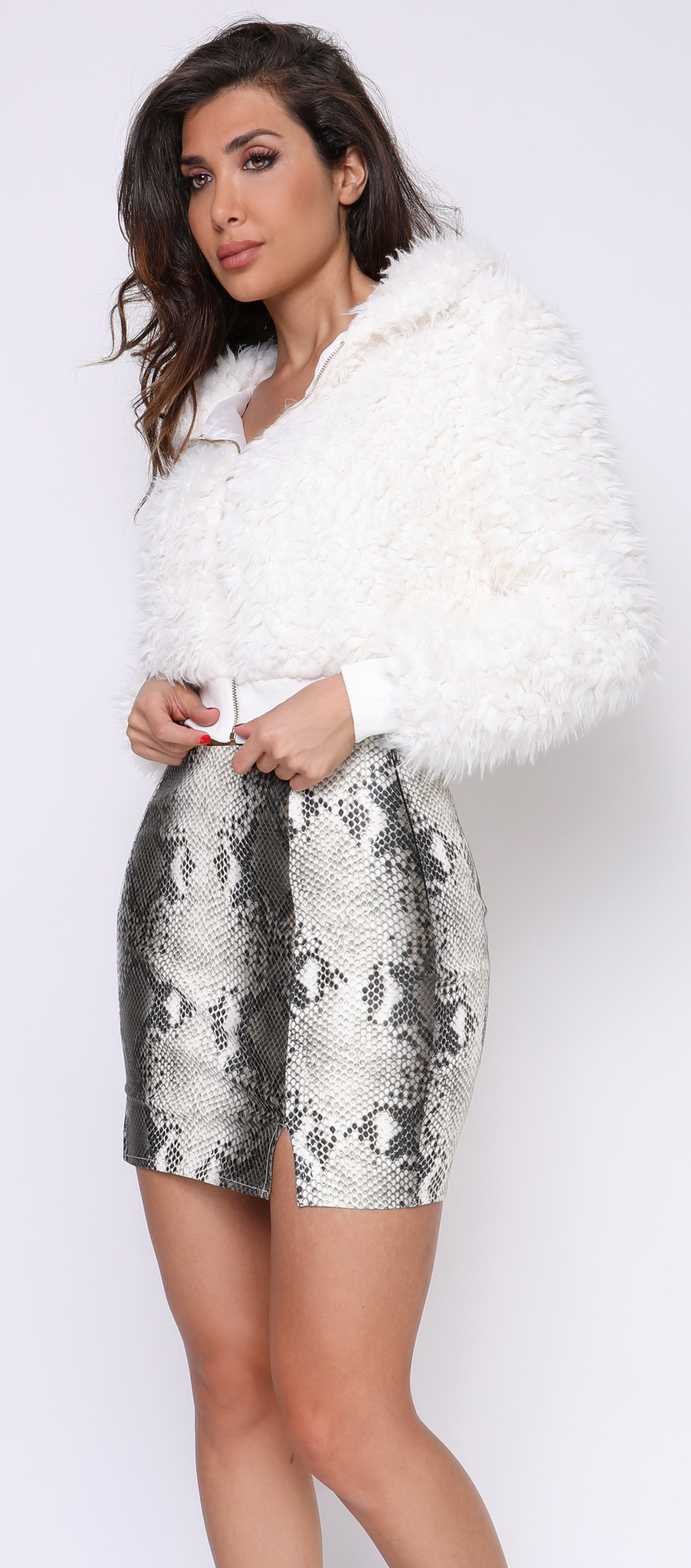 Lin Ivory White Snake Print Faux Leather Skirt