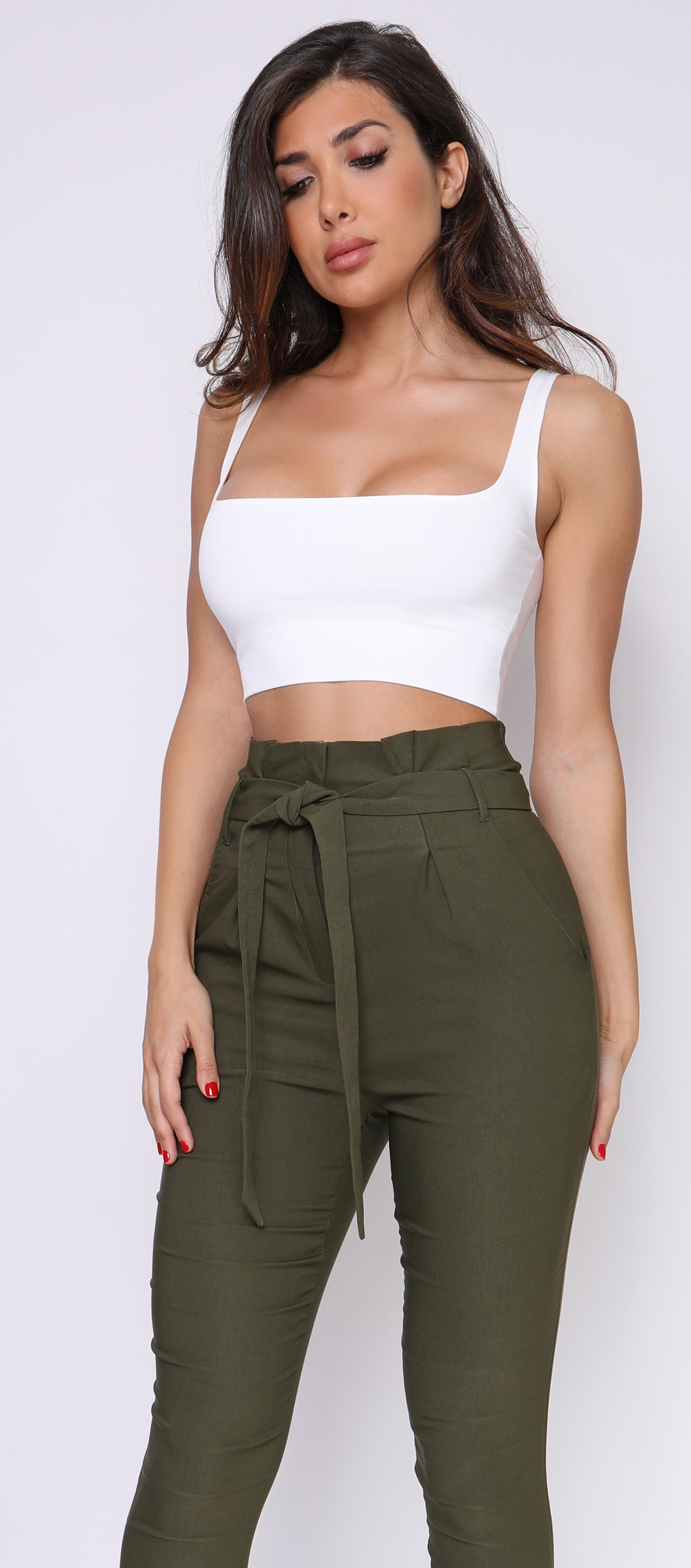 Ilva Off White Square Neck Crop Top