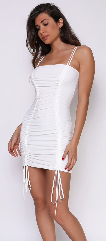 424e84d304 Bell White Ivory String Tie Ruched Dress - Emprada