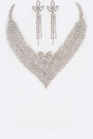 Rhinestone Silver Cubic Zirconia Necklace & Earrings Set