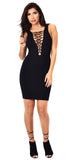 Black Lace Me Up Dress - Emprada