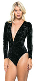 Black Velvet Long Sleeve Bodysuit - Emprada