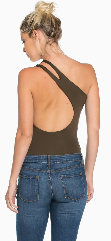 Jada Olive One Shoulder Bodysuit - Emprada