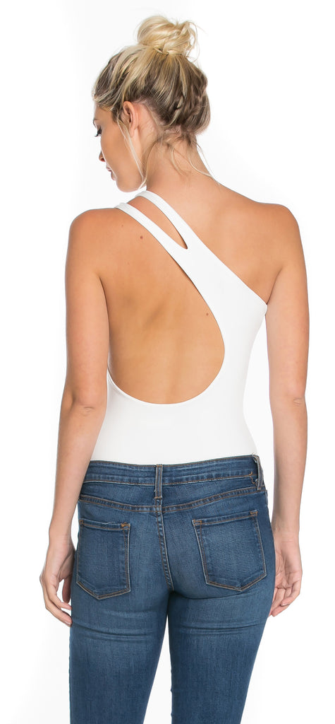 Jada Off White One Shoulder Bodysuit - Emprada