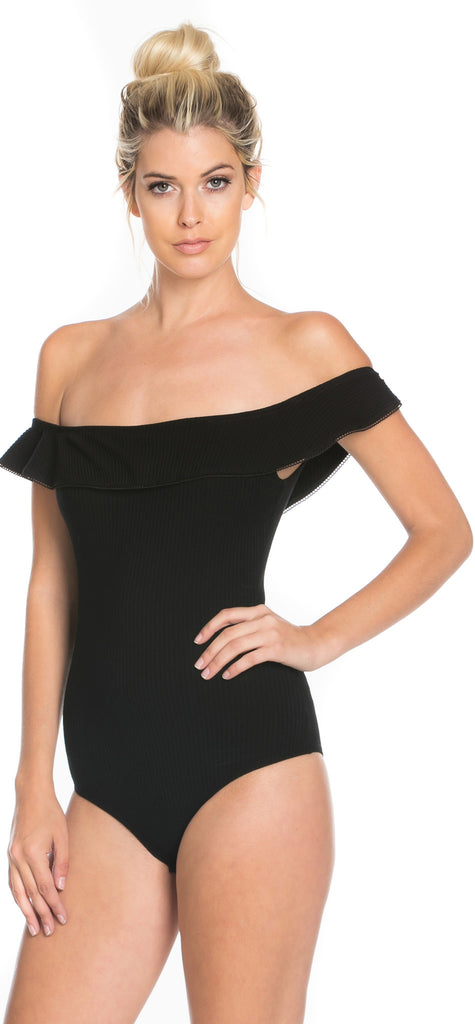 Black Bare Shoulder Ribbed Bodysuit - Emprada