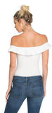Off White Bare Shoulder Ribbed Bodysuit - Emprada