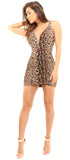 Leonarda Brown Leopard Print Ruched Dress