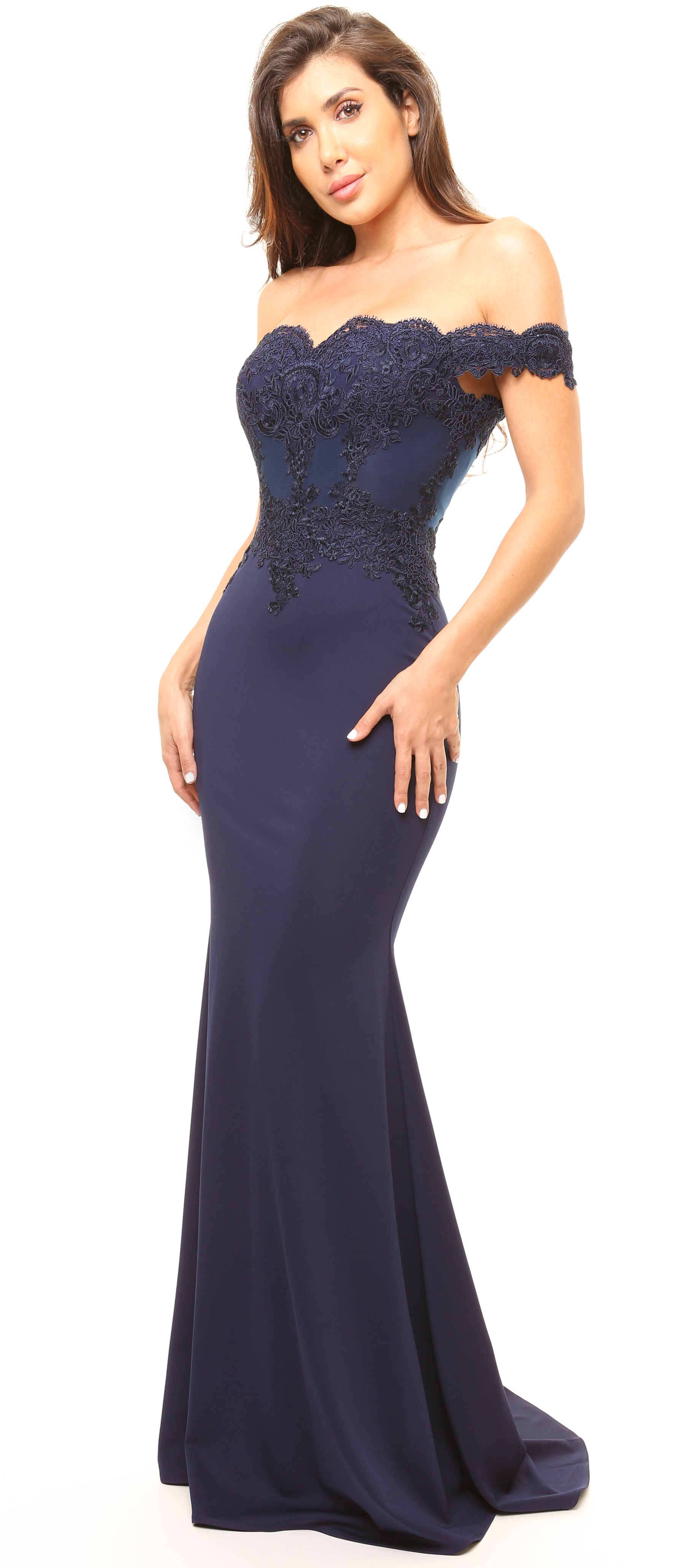 Solaine Navy Off Shoulder Lace Detail Gown Dress