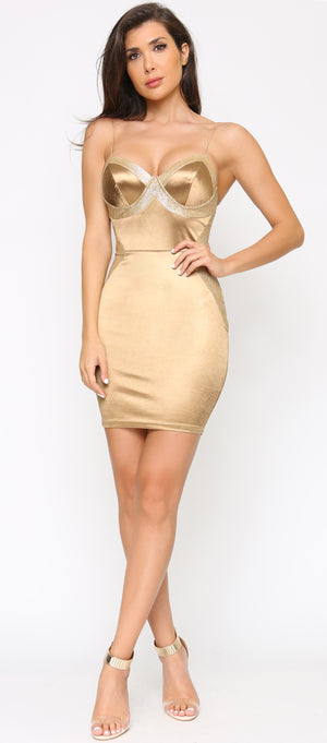 Sadira Gold Glitter Satin Bustier Dress