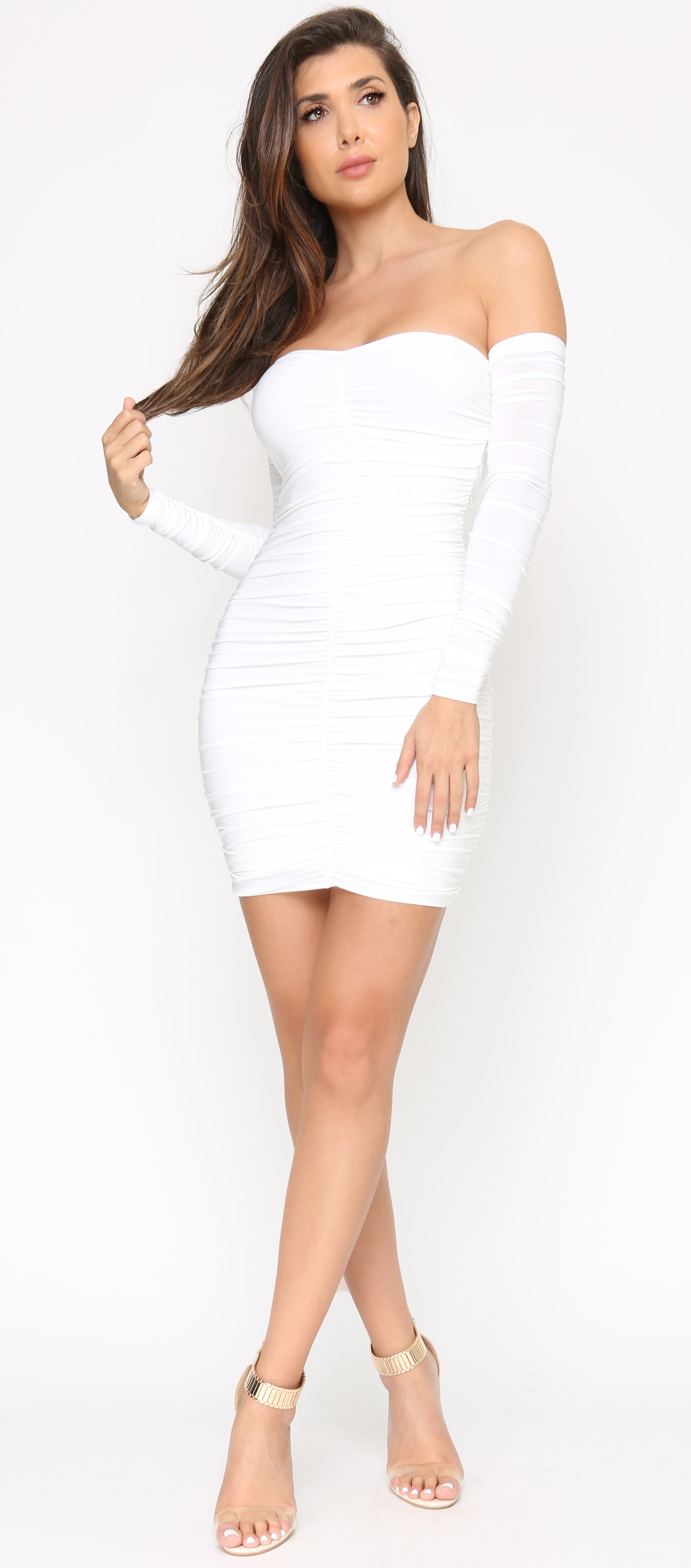 Plexi White Ivory Ruched Dress