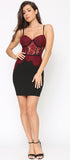 Aurea Black Burgundy Lace Bustier Dress - Emprada