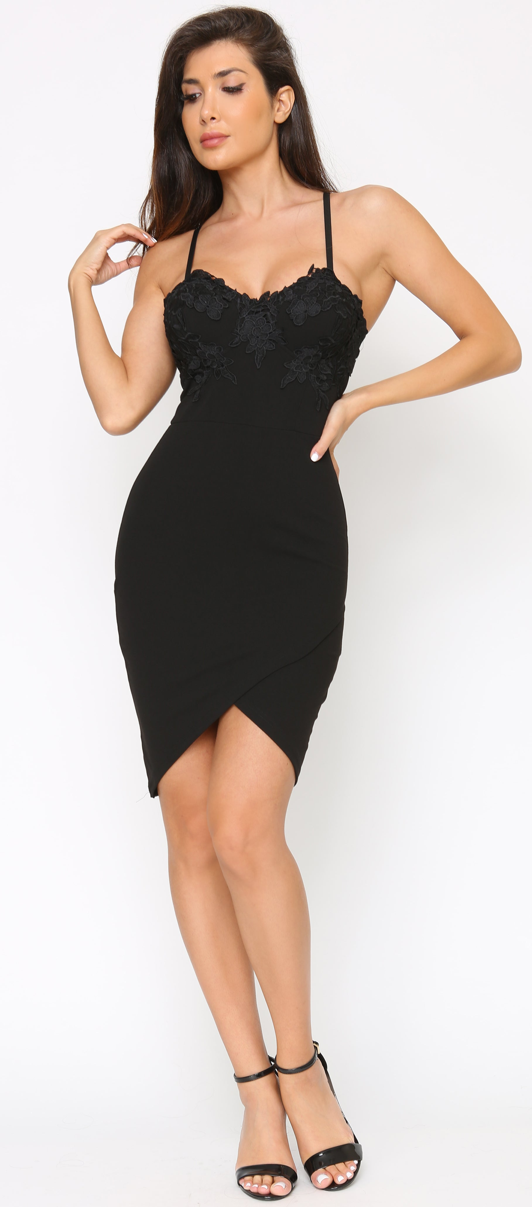 Avana Black Lace Bustier Asymmetrical Dress - Emprada