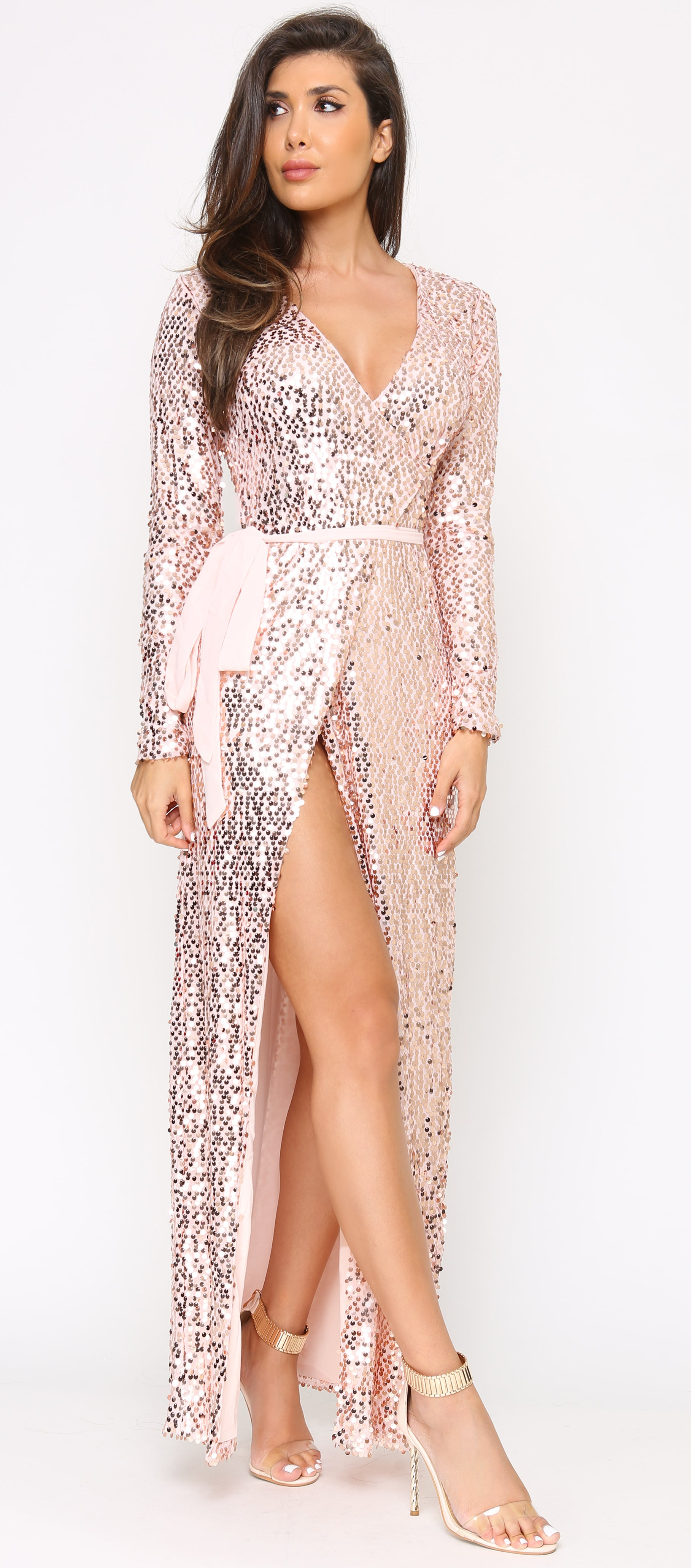 Emmeline Rose Gold Pink Belted Sequin Maxi Dress - Emprada