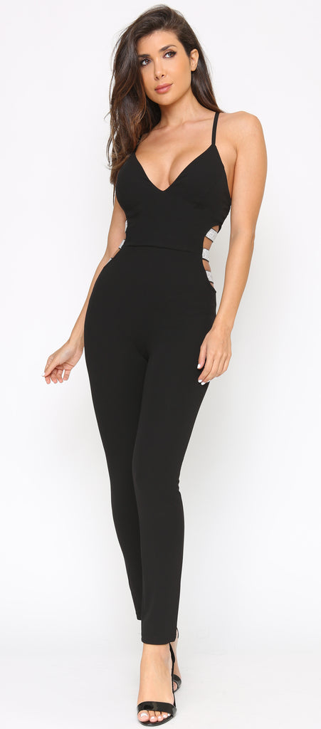 Adisa Black Cut Out Waist Rhinestone Detail Jumpsuit - Emprada