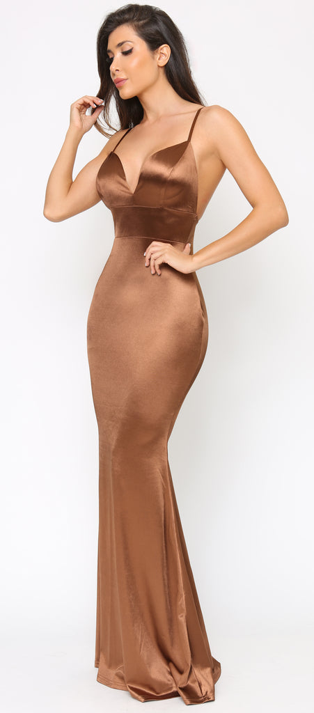 Keeva Cocoa Brown Backless Satin Maxi Dress