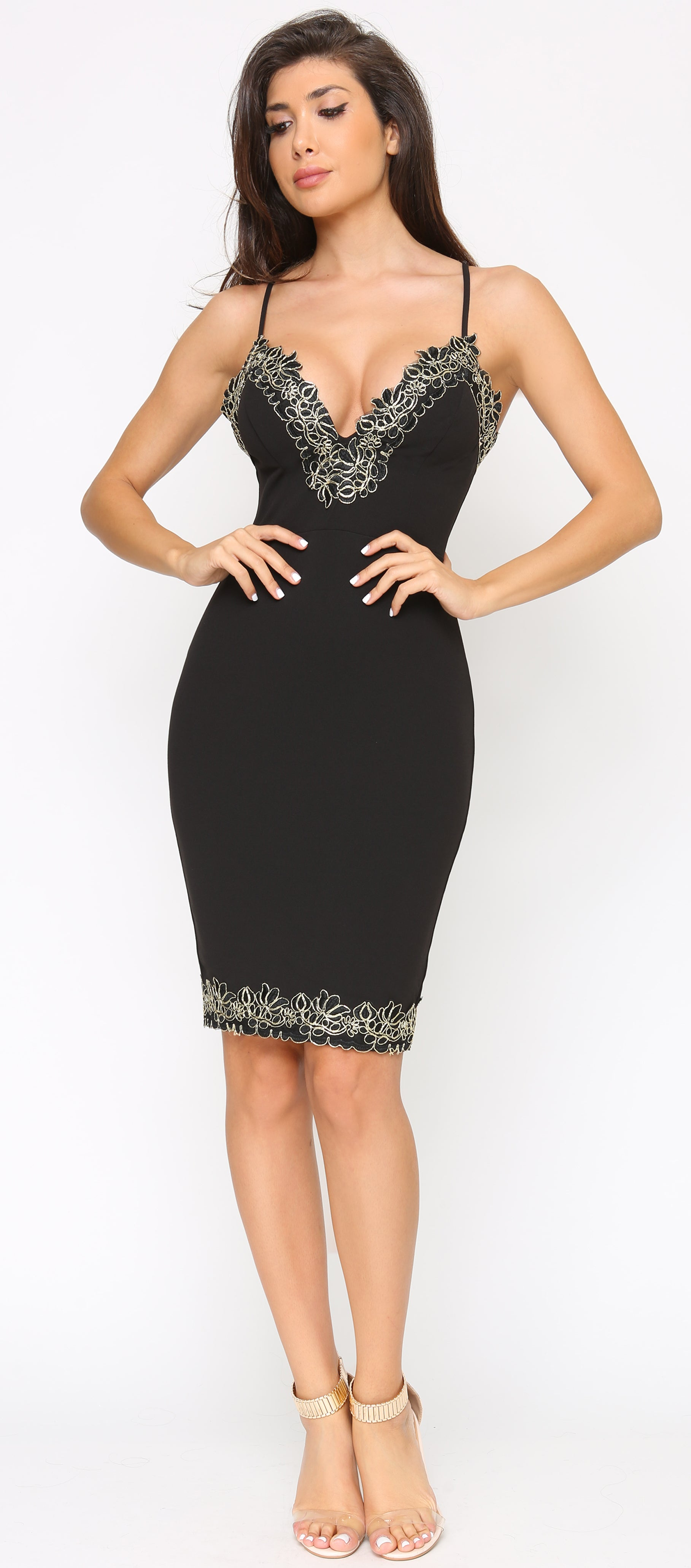 Saran Black Gold Frosted Lace Trim Dress