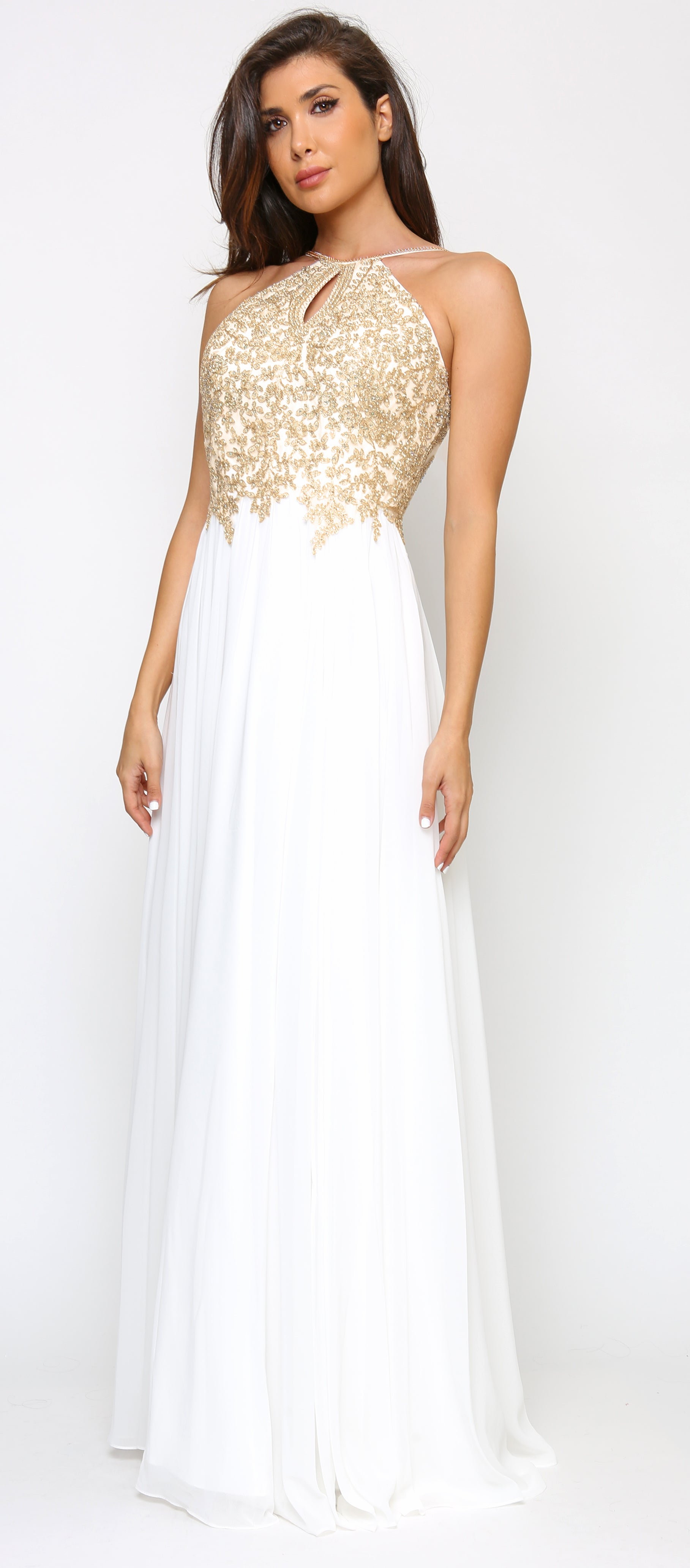 Cariana Off White Gold Embroidered Gown